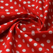 White Polkadots on Red - Polycotton Print
